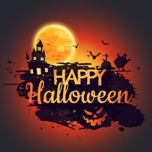 vector-happy-halloween-poster-with-creepy-castle